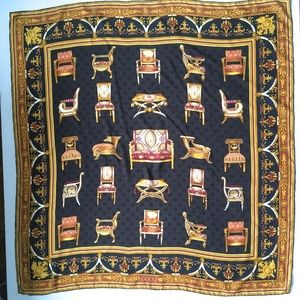Gucci Scarf 100% Silk Chairs Floral Rare Authentic